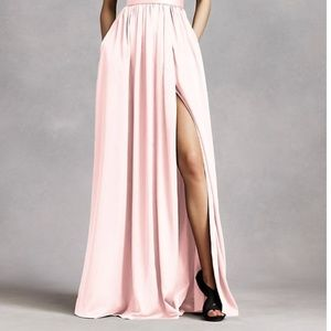 Vera Wang Dresses - V Neck Halter Gown with Sash in Petal